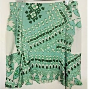 Collective Concepts Green White Lined Skirt Small